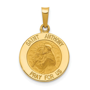 14k Yellow Gold Saint Anthony Medal Pendant, 15mm - The Black Bow Jewelry Co.