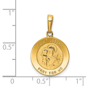 Alternate view of the 14k Yellow Gold Saint Joseph Medal Pendant, 16mm (5/8 inch) by The Black Bow Jewelry Co.