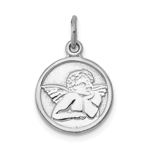14k White Gold Textured Angel Charm - The Black Bow Jewelry Co.