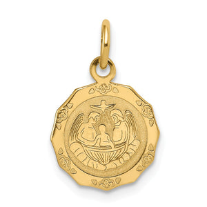 14k Yellow Gold Polished Baptism Charm, 12.5mm (1/2 inch) - The Black Bow Jewelry Co.