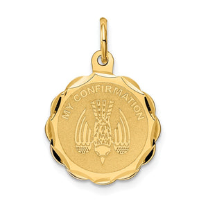 14k Yellow Gold My Confirmation Engravable Charm, 16mm (5/8 inch) - The Black Bow Jewelry Co.