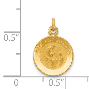 Alternate view of the 14k Yellow Gold First Holy Communion Medal Charm, 12mm (7/16 inch) by The Black Bow Jewelry Co.