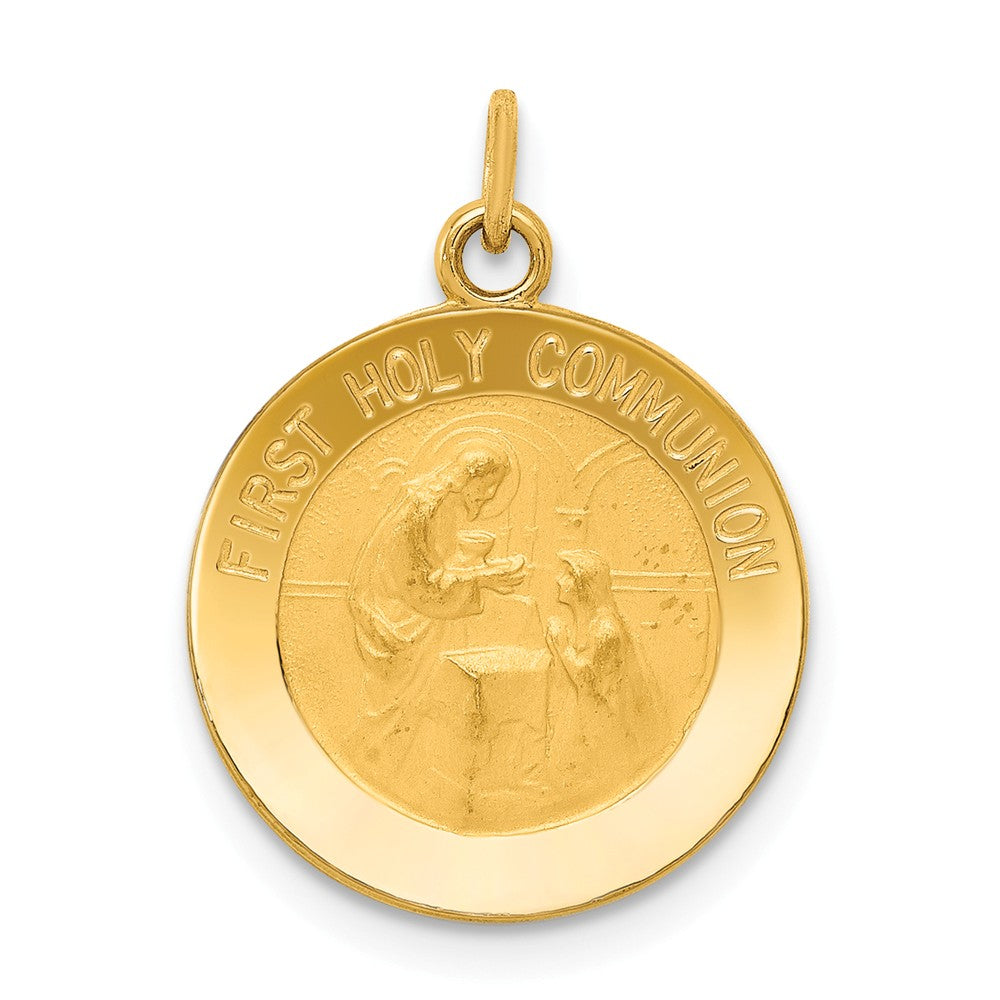 14k Yellow Gold First Holy Communion Charm, 15mm (9/16 inch), Item P8377 by The Black Bow Jewelry Co.