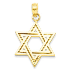 14k Yellow Gold Star of David Pendant - The Black Bow Jewelry Co.