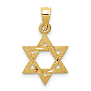 14k Yellow Gold Small Star of David Charm - The Black Bow Jewelry Co.