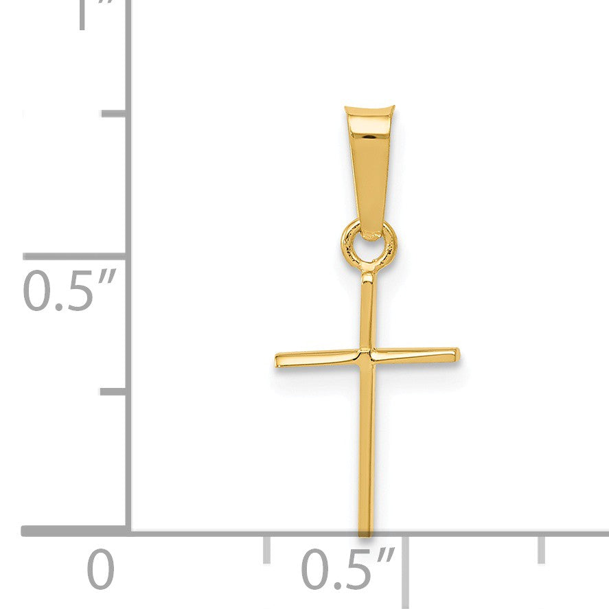Alternate view of the 14k Yellow Gold, Thin, Latin Cross Pendant by The Black Bow Jewelry Co.