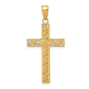 14k Yellow Gold, Rope, Latin Cross Pendant - The Black Bow Jewelry Co.