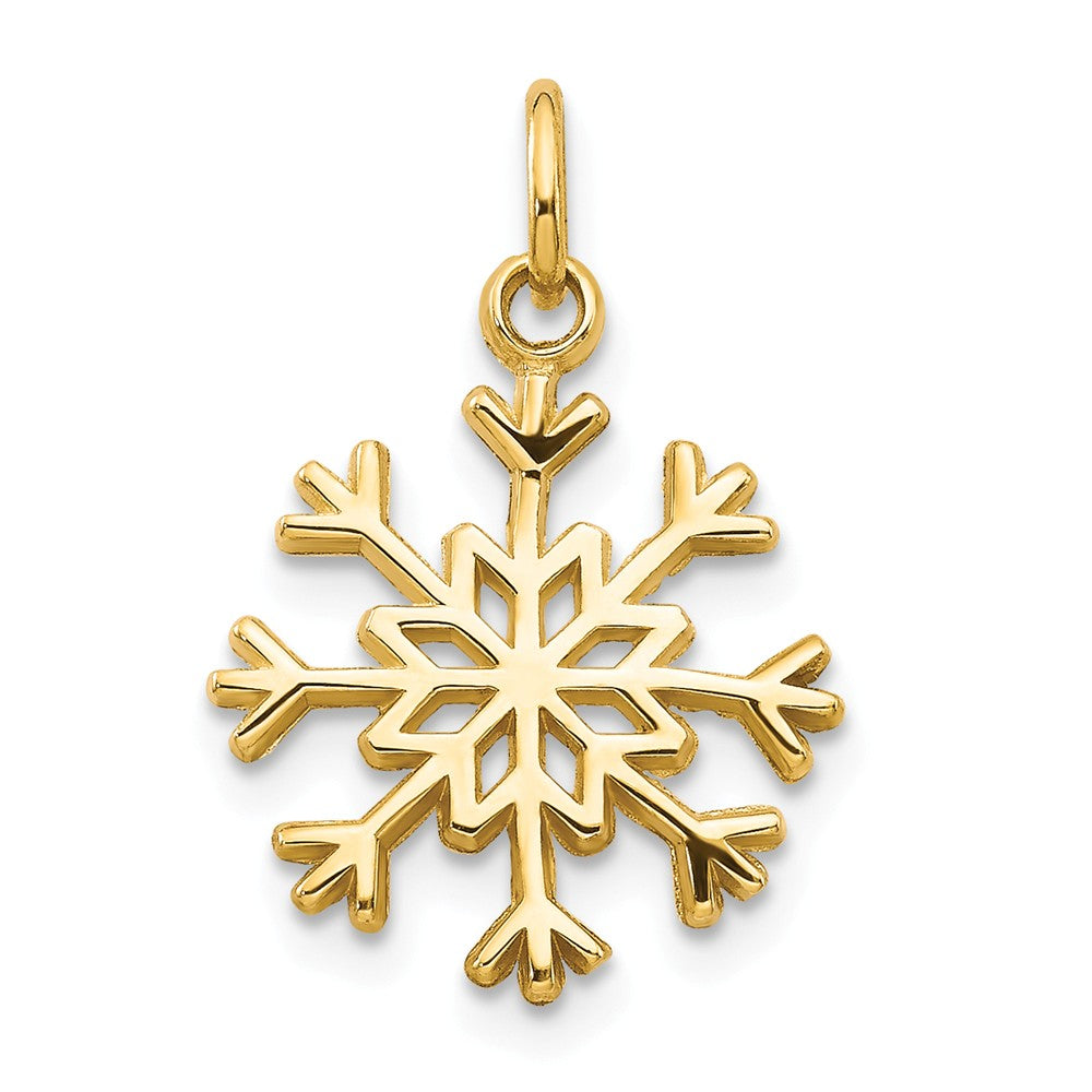 14k Yellow Gold Polished Snowflake Charm, Item P8428 by The Black Bow Jewelry Co.