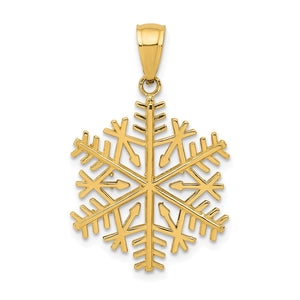 14k Yellow Gold 3D Aspen Snowflake Pendant, 3/4 Inch - The Black Bow Jewelry Co.
