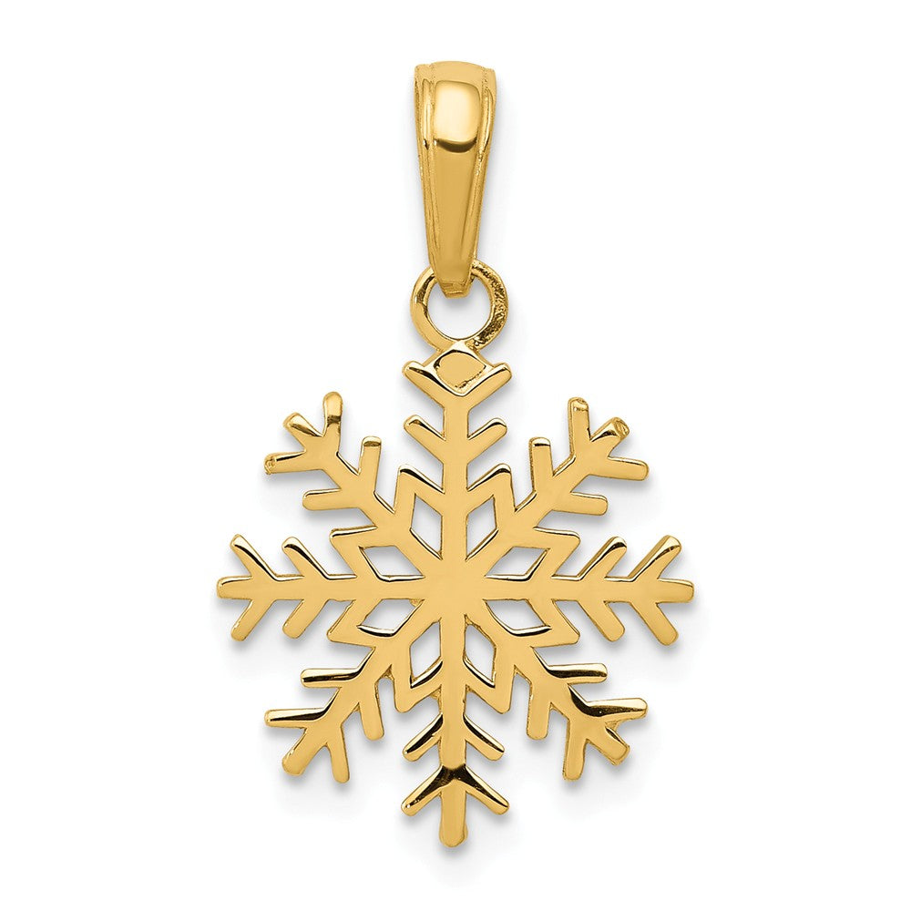 14k Yellow Gold 3D Snowflake Pendant, Item P8444 by The Black Bow Jewelry Co.