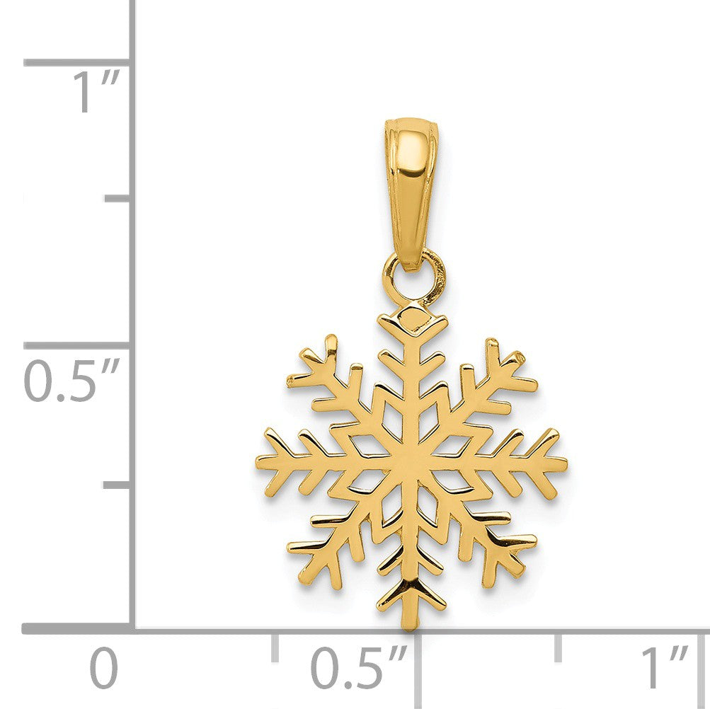Alternate view of the 14k Yellow Gold 3D Snowflake Pendant by The Black Bow Jewelry Co.
