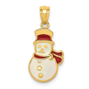 14k Yellow Gold, Enameled Snowman Charm - The Black Bow Jewelry Co.