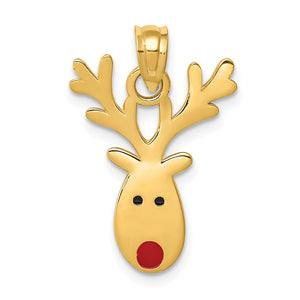 14k Yellow Gold Animated Reindeer Charm - The Black Bow Jewelry Co.
