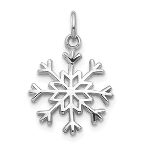 14k White Gold Breckenridge Snowflake Pendant, 9/16 Inch - The Black Bow Jewelry Co.