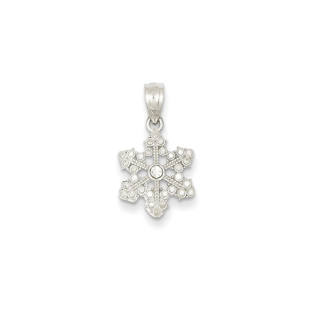 14k White Gold, Snowflake Pendant, Item P8518 by The Black Bow Jewelry Co.