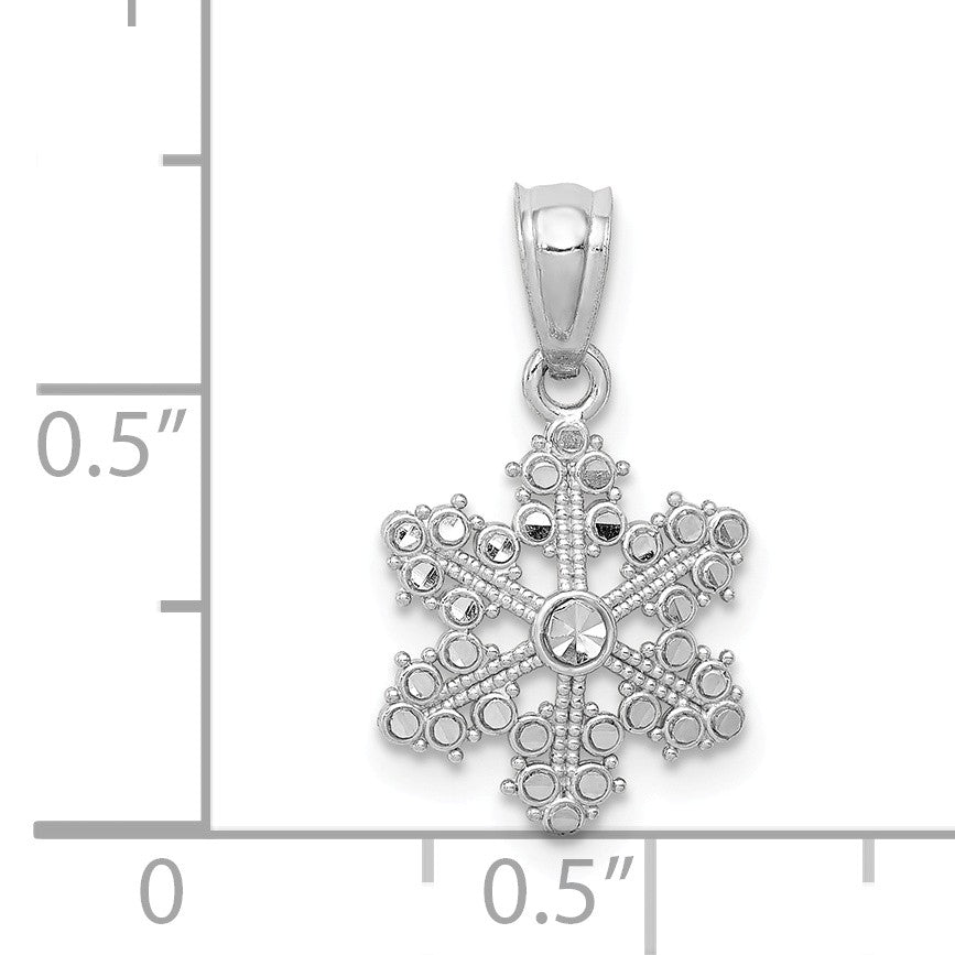 Alternate view of the 14k White Gold, Snowflake Pendant by The Black Bow Jewelry Co.