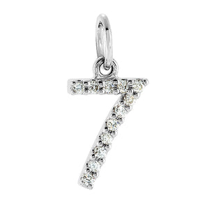 .05 Cttw Diamond & 14k White Gold Mini Number 7 Charm or Pendant - The Black Bow Jewelry Co.