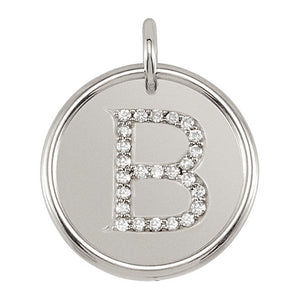 1/8 Ctw G-H, I1 Diamond Initial 17mm Sterling Silver Pendant Letter B - The Black Bow Jewelry Co.