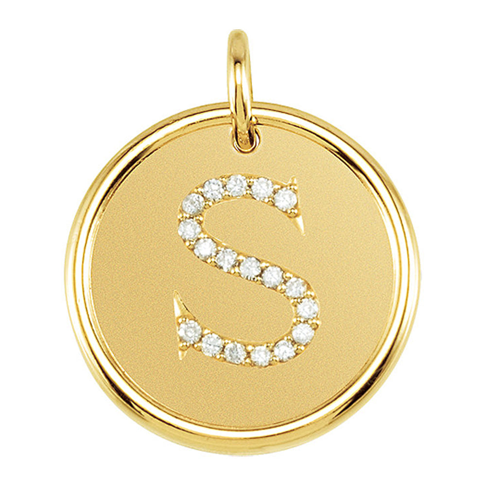 1/10 Ctw G-H, I1 Diamond Initial 17mm 14k Yellow Gold Pendant Letter S, Item P8923 by The Black Bow Jewelry Co.