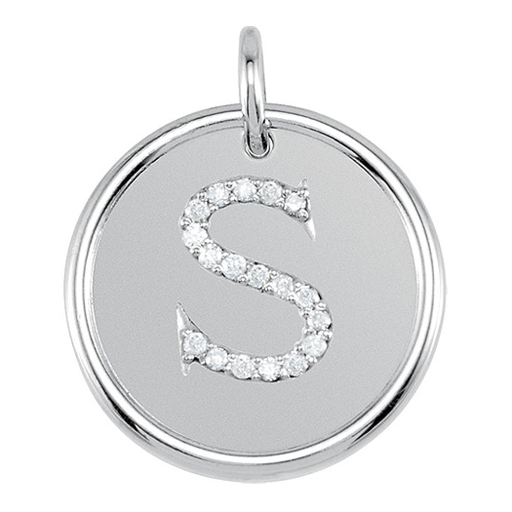 1/10 Ctw G-H, I1 Diamond Initial 17mm 14k White Gold Pendant Letter S, Item P8955 by The Black Bow Jewelry Co.