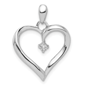 Diamond Accented Heart Pendant in Sterling Silver - The Black Bow Jewelry Co.