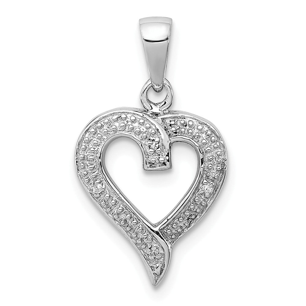 Rhodium Diamond Heart Pendant in Sterling Silver, Item P9010 by The Black Bow Jewelry Co.