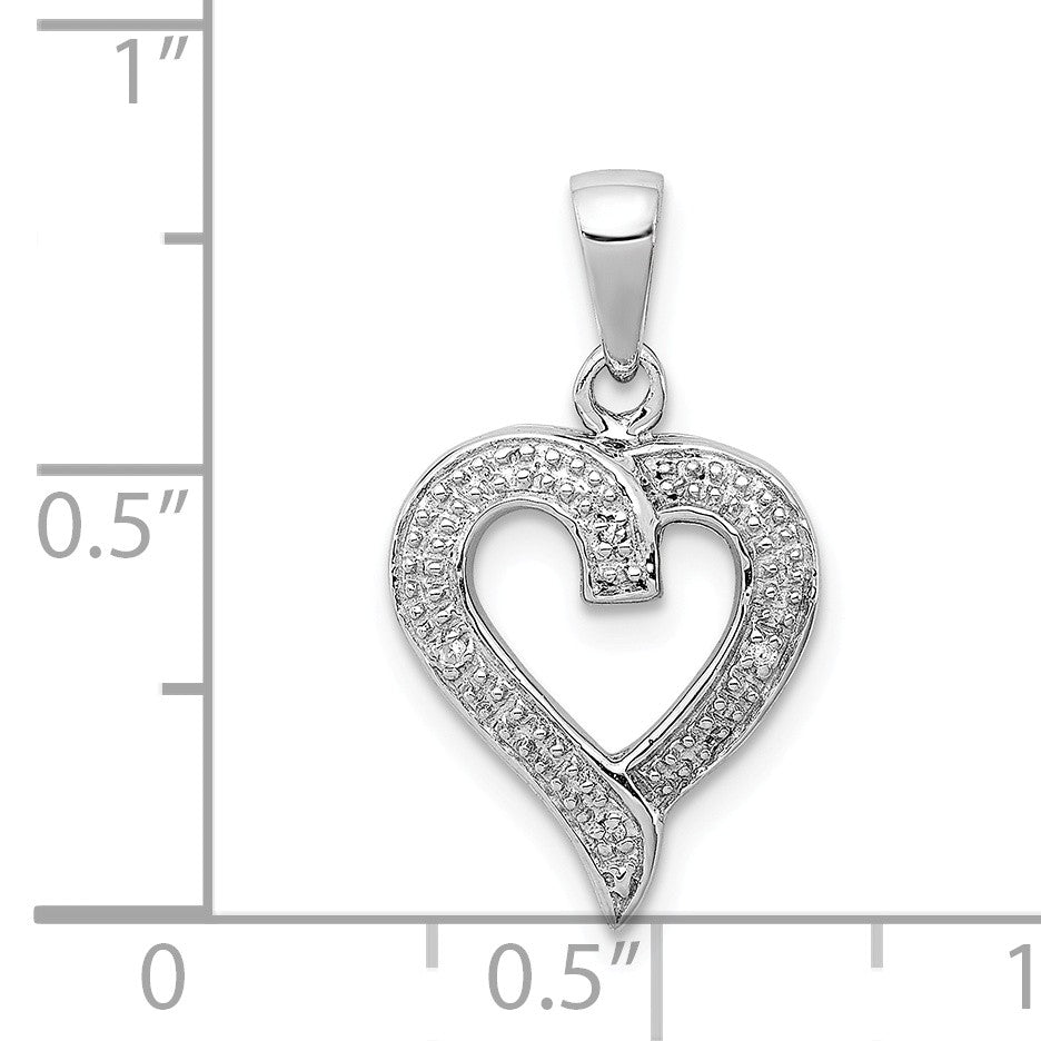 Alternate view of the Rhodium Diamond Heart Pendant in Sterling Silver by The Black Bow Jewelry Co.
