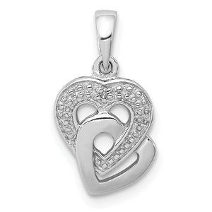 Diamond Accent Hearts Entwined Pendant in Sterling Silver - The Black Bow Jewelry Co.