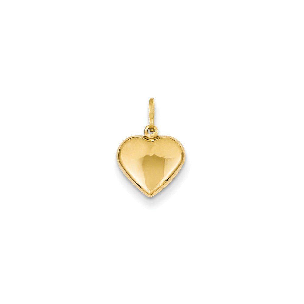 14k Yellow Gold Puffed Heart Charm or Pendant, 10mm (3/8 Inch), Item P9052 by The Black Bow Jewelry Co.
