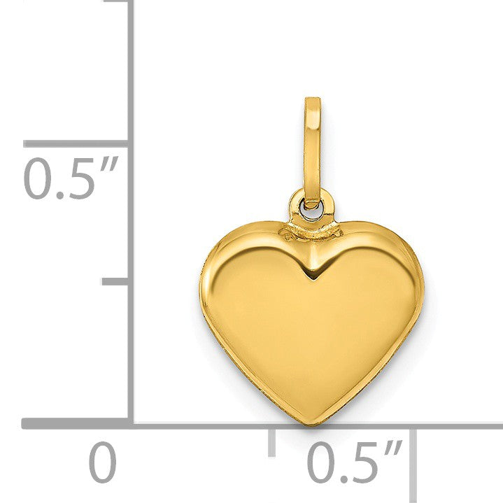 Alternate view of the 14k Yellow Gold Puffed Heart Charm or Pendant, 10mm (3/8 Inch) by The Black Bow Jewelry Co.