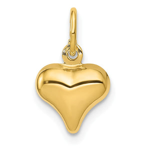 14k Yellow Gold Puffed Heart Charm or Pendant, 8mm (5/16 inch) - The Black Bow Jewelry Co.