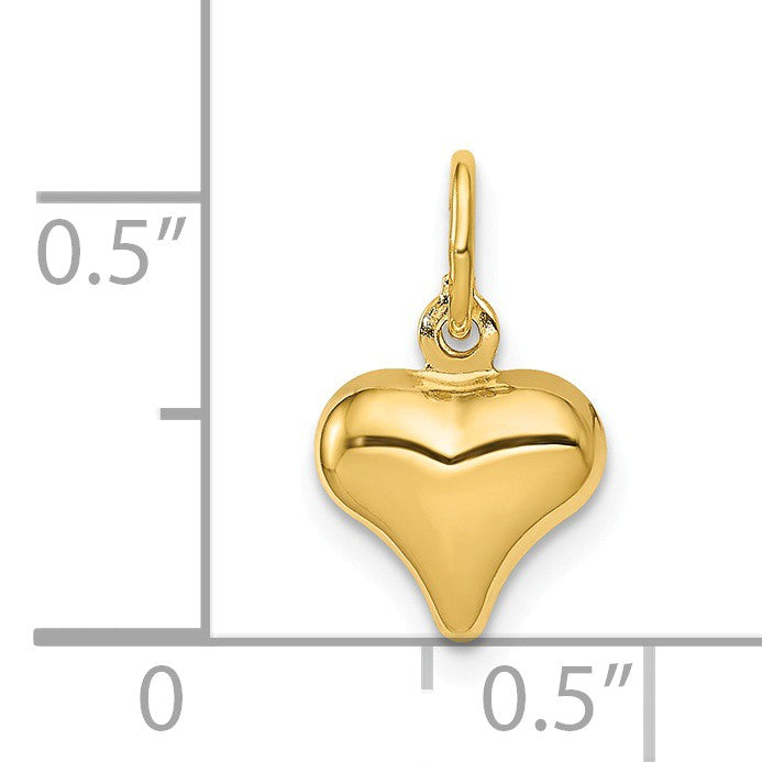 Alternate view of the 14k Yellow Gold Puffed Heart Charm or Pendant, 8mm (5/16 inch) by The Black Bow Jewelry Co.