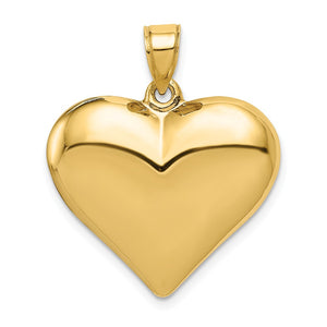 14k Yellow Gold Puffed Heart Pendant, 22mm - The Black Bow Jewelry Co.