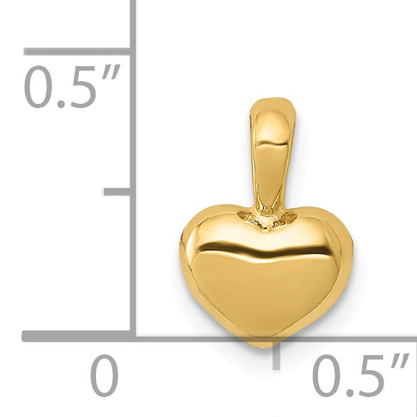 Alternate view of the 14k Yellow Gold Puffed Heart Pendant, 6mm by The Black Bow Jewelry Co.