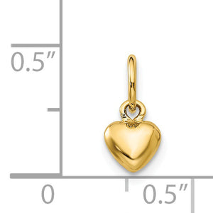 14k Yellow Gold Tiny Puffed Heart Charm, 5mm (3/16 inch)