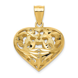 14k Yellow Gold Diamond Cut Puffed Heart Pendant, 25mm - The Black Bow Jewelry Co.