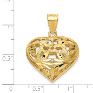 14k Yellow Gold Diamond Cut Puffed Heart Pendant, 25mm
