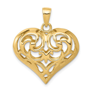 14k Yellow Gold Diamond Cut Puffed Heart Pendant, 22mm - The Black Bow Jewelry Co.