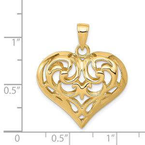 Alternate view of the 14k Yellow Gold Diamond Cut Puffed Heart Pendant, 22mm by The Black Bow Jewelry Co.