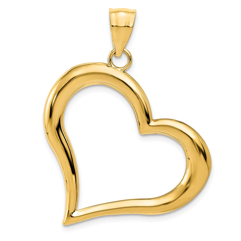 14k Yellow Gold Open Heart Pendant, 30mm, Item P9108 by The Black Bow Jewelry Co.