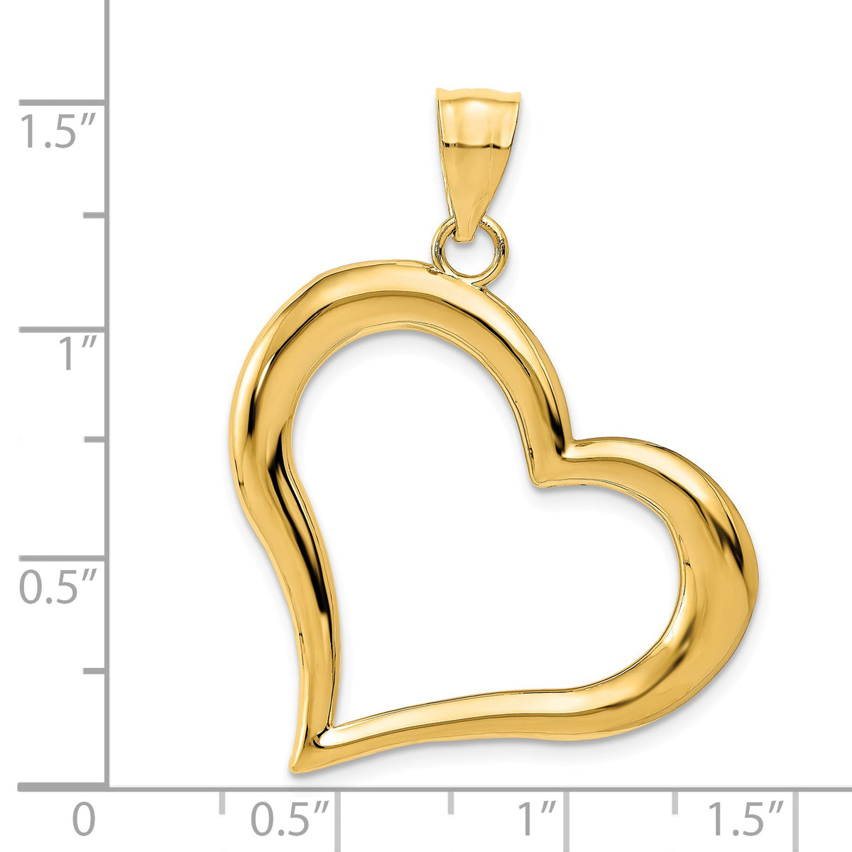 Alternate view of the 14k Yellow Gold Open Heart Pendant, 30mm by The Black Bow Jewelry Co.