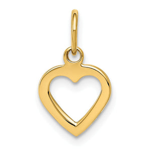 14k Yellow Gold Open Heart Charm or Pendant, 10mm - The Black Bow Jewelry Co.