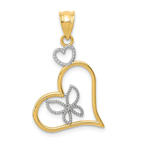 14k Yellow Gold and Rhodium Heart Pendant, 18mm - The Black Bow Jewelry Co.