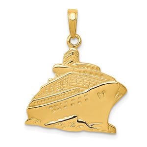 14k Yellow Gold Polished Cruise Ship Pendant - The Black Bow Jewelry Co.