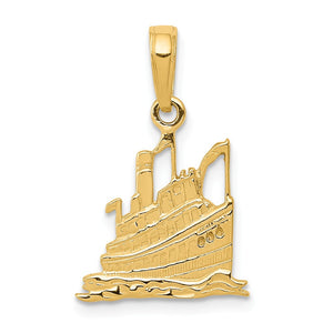 14k Yellow Gold Small Cruise Ship Pendant - The Black Bow Jewelry Co.
