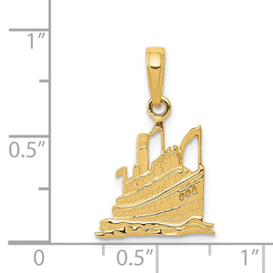 Alternate view of the 14k Yellow Gold Small Cruise Ship Pendant by The Black Bow Jewelry Co.