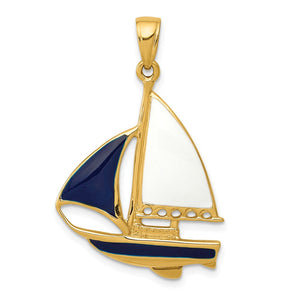 14k Yellow Gold, Blue and White Enameled 2D Sailboat Pendant - The Black Bow Jewelry Co.