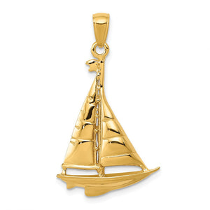 14k Yellow Gold Polished Sailboat Pendant, 20 x 33mm - The Black Bow Jewelry Co.