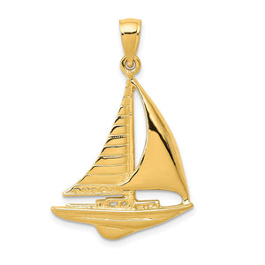 14k Yellow Gold 2D Polished Sailboat Pendant - The Black Bow Jewelry Co.