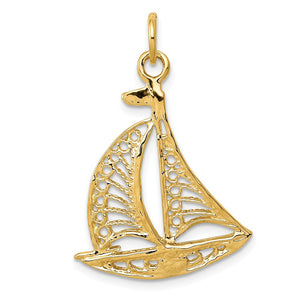 14k Yellow Gold Cutout Sailboat Pendant - The Black Bow Jewelry Co.